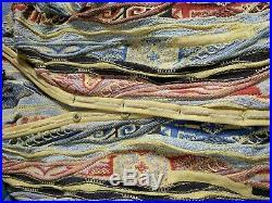 Vintage COOGI Vintage Cardigan -Sz M Cotton Wool Blend, Yellow Grey Blue Hip Hop