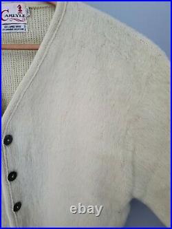 Vintage Carlyle Mohair Cardigan Cobain Sweater Grunge Fuzzy Men's L/XL Cream