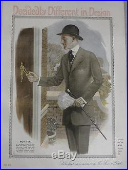 Vintage Color Mens Clothing Decidedly Different Design Lithograph 1915/16