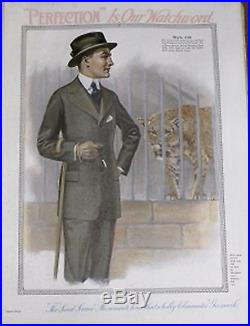 Vintage Color Mens Clothing Perfection is our Watchword Lithograph 1915/16