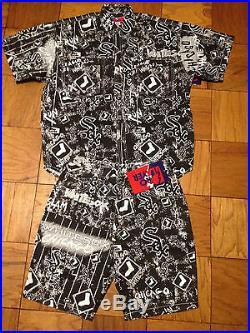 Vintage Deadstock Chicago White Sox All Over Print Denim Shirt Short Se Snapback