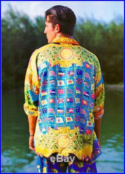 Vintage GIANNI VERSACE Iconic silk shirt MIAMI & FLAGS print size 50 very rare
