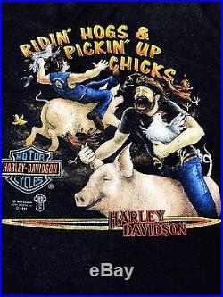 Vintage Harley Davidson 80's t shirt 1989 3D Emblem Ridin'hogs& Pickin Up Chicks