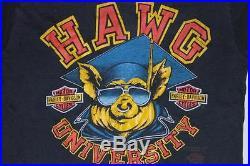 Vintage Harley Davidson Hawg University Dealer 3D Emblem Faded Biker T Shirt XS