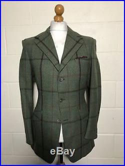 Vintage Huntsman Savile Row Bespoke Green Tweed Jacket Size 36 38