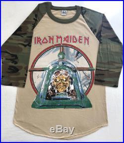 Vintage Iron Maiden Camo Powerslave Aces High Tour T-Shirt Shirt 80s Heavy Metal