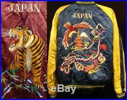 Vintage Japan Embroidered Tiger & Map Reversible Souvenir Tour Bomber Jacket