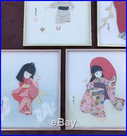 Vintage Japanese Cloth Picture Frame Geisha Red Kimono Man MidCentury Set of 5