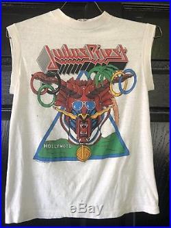 Vintage Judas Priest T-Shirt 1984 Los Angeles Metal Games Defenders Of The Faith