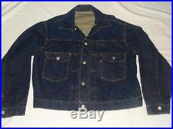 Vintage LEVI 5077XX Jacket Type 2 Big E-Pleated-Selvedge Edge EXC Cond! USA