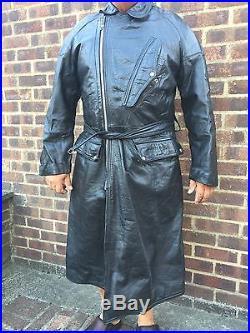 Vintage Leather Full Length Highwayman Motorbike Coat