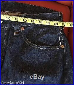 Vintage Levis 501XX Denim Red Line Selvage Hidden Rivets 34X28 Big E 50s