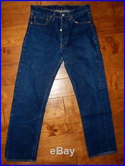 Vintage Levis 501 Jeans Selvedge, Single Stitch, One Wash DARK, No. 6 Button