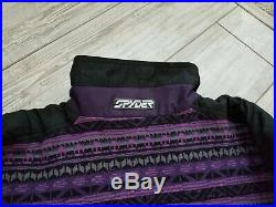 Vintage! Men's SPYDER 100% WOOL Lined NORDIC SKI SWEATER sz Large
