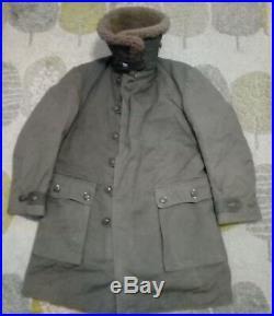 Vintage Mens 1940's SWEDISH SHEEPSKIN WW2 MATS LARSSON M1909 Army Parka Coat