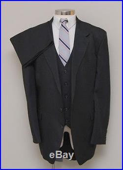 Vintage Mens 50L Capitol Clothing 3 Piece Black Pinstripe Suit