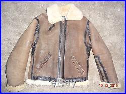 Vintage Mens Sz 40 RAF TYPE SCHOTT BROS Sheepskin Bomber Coat Jacket USA