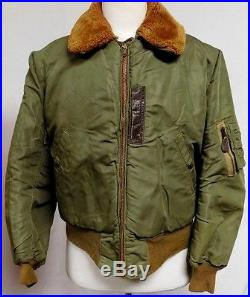 Vintage Military Flight Jacket Mouton Collar Green Nylon 40s WWII B-15B 3220-B