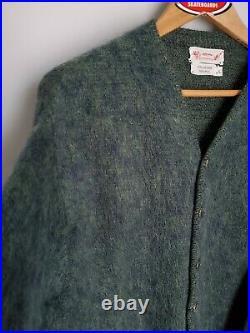 Vintage Mohair Cardigan Cobain Sweater Grunge Fuzzy Men's Large Blue Green