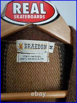 Vintage Mohair Cardigan Cobain Sweater Grunge Fuzzy Men's Medium Striped Brown