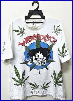 Vintage Nervous Records Weeded Rap Hip Hop Overprint T-shirt Black Moon 2pac Nwa