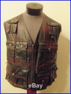 Vintage POLO SPORT Ralph Lauren Tartan Plaid Lined Wax Finish Zip Fishing Vest M