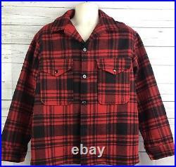 Vintage Pendleton Mackinaw Plaid Wool Hunting Barn Jacket Coat Mens Size Large