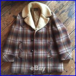 Vintage Pendleton, Shadow Plaid, Heavy Wool, Sherpa Lined Jacket, Western Wear