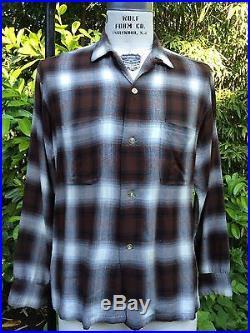 Vintage Penney's Towncraft 1950's Shadow Plaid Rayon Gab Shirt Arrow Chevella