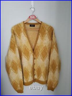 Vintage Puritan Mohair Cardigan Cobain Sweater Grunge Fuzzy Men's XL Argyle