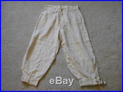 Vintage RARE Antique 1920s Button Fly Golf Knickers White Linen Size 32 x24