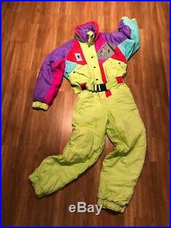 Vintage Retro 80s Neon Skisuit Mens Medium
