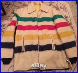 Vintage Reversible Wool blanket Coat Pendleton or Hudsons Bay Style, sz L