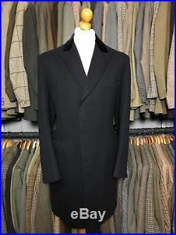 Vintage Savile Row velvet collar bespoke navy blue overcoat size 38 40