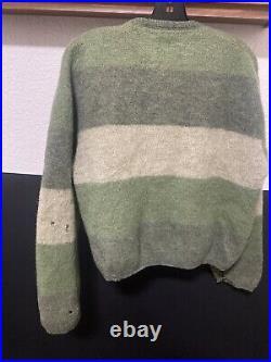 Vintage Sears Mohair Cardigan Cobain Sweater Grunge Fuzzy Medium Tri-tone Green