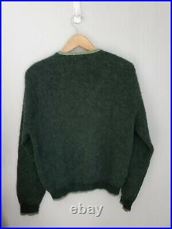 Vintage Sears Mohair Cardigan Cobain Sweater Grunge Fuzzy Men's Small Green