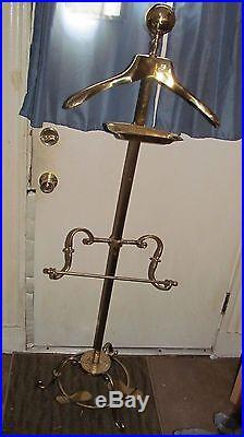 Vintage Solid Brass Glo Mar Men's Suit Valet Butler Clothes Hanger with shoe rest