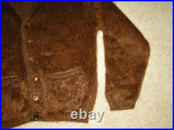 Vintage Sweater Men's Fuzzy Mohair Cardigan Kurt Cobain Brown Sz. L-XL