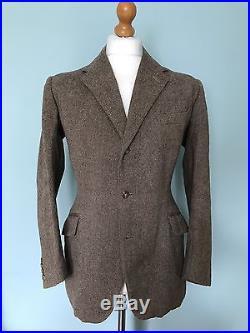 Vintage Three 3 Piece Tweed Savile Row Bespoke Suit Size 38 40