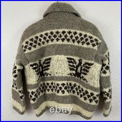 Vintage Vtg 100% Wool Thunderbird Cowichan Indian Sweater Canada Men's Size XS