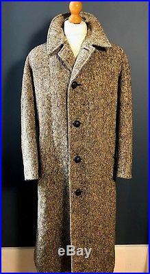 Vintage bespoke Burberry donegal Irish tweed long overcoat size 38