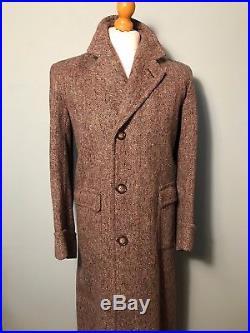 Vintage brown wool herringbone 1930's 1940's tweed overcoat coat size 38