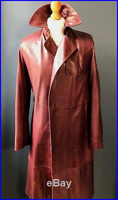 Vintage mulberry long red leather trench coat overcoat mac size 38