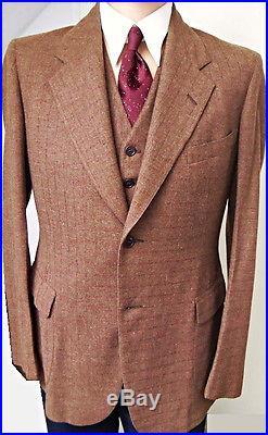 Vtg. 1930's US beltback suit fleck jacket/coat+waistcoat+trousers 1920-1940 30's