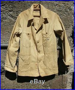 Vtg. 1940's LEE Sanforized Chore jacket WORKWEAR OG painted logo unit insignia
