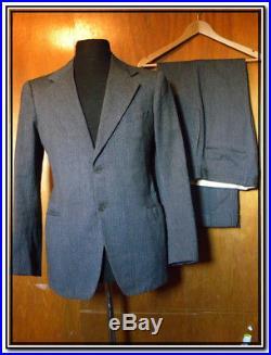 Vtg 1940s Gray & Blk HERRINGBONE SUIT Sz 36 Pants 32X30 Union Made USA 2-Button
