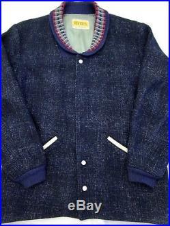 Vtg 1950s ATOMIC FLECK Pharaoh jacket L PENNEYS shawl collar Clicker wool coat