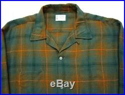 Vtg 1960s Rayon Loop Collar shirt XL Penney's rockabilly shadow plaid 50s EUC
