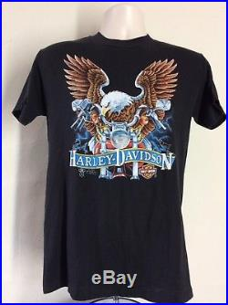Vtg 1986 3D Emblem Harley Davidson T-Shirt Black M/L 80s Buffalo NY Eagle