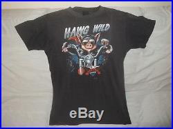 Vtg 1986 Distressed 3D EMBLEM HAWG WILD Hog On Harley American Biker T-Shirt S/M